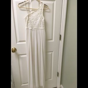 David 's  Bridal girl's Sz 14 one Shoulder Gown